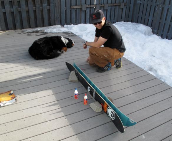 Helping Dad split boards